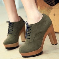 2012 spring and autumn female shoes platform round toe lacing ankle-length boots ankle boots candy high heel casual shoes