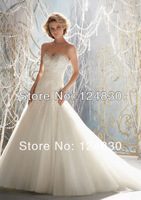 Fashional High Quality A-Line Beading Sweetheart Strapless Lace Up Organza 2014 Wedding Dresses