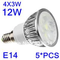 5PCS/LOT  LED  E14/B22/GU10/E26 4x3W 12W High power Energy Saving Natural/Warm White Light LED Spot Bulb (110-240V)