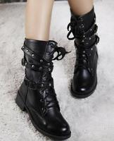 Free drop shipping ladies fashion winter martin boots for women shoes Woman 2013 belt buckle rivets big size Eur34-43 CSXX34443