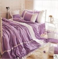 Free shipping  gentlewomen 100% home textile cotton plain solid color purple white double princess bedding piece bedding set