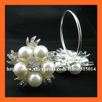 Free Shipping !100pcs/lot 40mm Ring  Pearl& Rhinestone Napkin Rings ,Rhinestone Holders For Table Decoration
