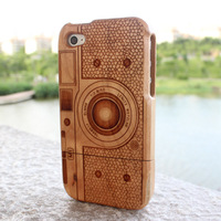 Luxury New Genuine Real natural Camera M1 bamboo wood wooden case cover for iPhone 4/4S cherry wood,free shipping