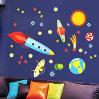 New Design!Space Stars Wall Stickers,50*70cm,Children's room stickers ,rocket stickers,Air space, boy love design