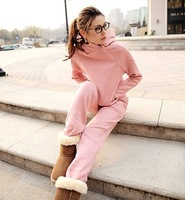2013 women  zipper turtleneck sweatshirt plus velvet thickening solid color set