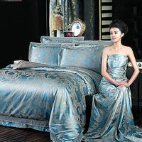 Free shipping Quality 100% cotton satin four piece set tencel 100% cotton sheets duvet cover lace decoration princess bedding