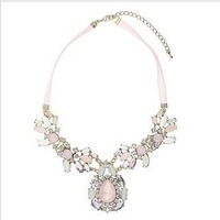 Min.order$15) 2013 Luxury artificial gem flower pendant necklace for women,Statement necklace,Ribbon chokers necklace chain N373