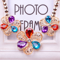 Fashion New Style Hollow Flower With Rhinestone And Gem Golden Chain Women Choker Necklace