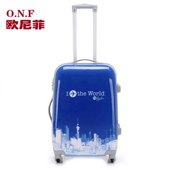 Pc travel bag fashion bright color abs trolley luggage lock luggage