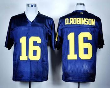 Michigan Wolverines #16 Denard Robinson Blue Men's Football jersey embroidery logo