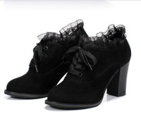 Free Shipping 2013 New sweet Thick With Round Head High Heels Shoes Fashion Shoes Wor k Shoes Lace