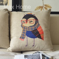 "Free Shipping 18"" Night Owl Female Retro Vintage Style Linen Decorative Pillow Case Pillow Cover Cushion Cover"
