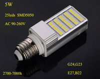 LED Plug lampada LED PLC bulb LED corn light  5W,AC 9-260V SMD5050*25pcs G23,E27,B22 2years warranty DHL Free shipping