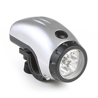 Excellent Design!! Free shipping Front Lamp 5-LED Bike Bicycle head Light with LED white lighting 3XAAA Battery Silver