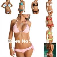 Simple Sexy Girl Padded Bathing Beach Bikini Swimsuit Swimwear Set+ Halter strap