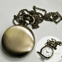 Wholesale  plain pocket watch necklace anime pocket watch   12 pcs/ lot  FREE shipping