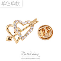 Free Shipping! New Arrival High Quality Rhinestone Crystal Love At First Sight The Peach Heart Brooches Pin Corsage 5cs/lot