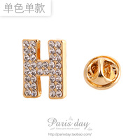 Free Shipping! New Arrival Fashion High Quality Rhinestone Crystal H Letter Brooches Pin Corsage 5pcs/lot