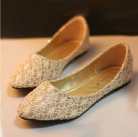 Double 2013 autumn small fresh lace flat comfortable single shoes pointed toe fashion foot wrapping women's shoes