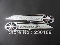 5pair/lot Drag Star Classic Chrome Gas Tank Badge/Emblem Badge Decal Silver Fits For Yamaha Vstar XVS XV 400 650 Free Shipping