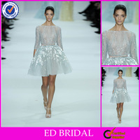 DE127 Shiny Beaded Long Sleeve Elie Saab Short Dress
