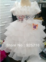 Retail beautiful design --- baby dress - girl dress - white short-sleeved version 265662