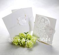 Elegant Embossed White Rose Tri-fold Wedding Invitation (Set of 50)Printable and Customizable  Free Shipping