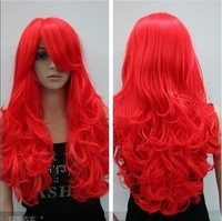 Wig22 red long curly full cosplay wig + wigs mesh cap