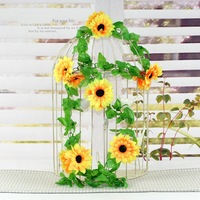 "Large 2.4M fake artificial 4.7"" diameter 12PCS Yellow sunflower rattails vine home garden decoration photo prop free shipping"