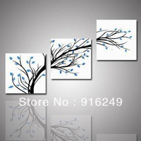 3 Piece Wall Art Modern Abstract Large Cheap Floral Black And White and Blue Tree of Fife Print On Canvas  home decor-unframed