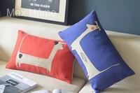 "Free Shipping 2 pcs/lot 20"" Dog Theme Orange & Blue Vintage Linen Decorative Waist Pillow Case Pillow Cover Cushion Cover Set"