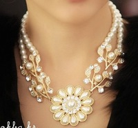 accessories fashion pearl  flower branches pendant short design necklace chain female