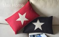 "Free Shipping 2 pcs/lot 20"" Star Red & Black Retro Vintage Linen Decorative Waist Pillow Case Pillow Cover Cushion Cover Set"