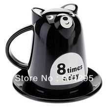 Free shipping plastic Cartoon Bear Style Milk Tea coffe Cup with Dish