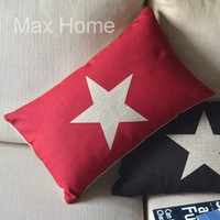 "Free Shipping 20"" White Star Red Retro Vintage Style Linen Decorative Waist Pillow Case Pillow Cover Cushion Cover"