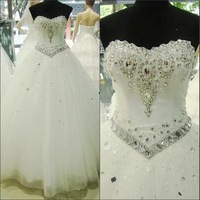 Hot 2014 new wedding dress bandage bridal lace embroidery wedding diamond princess from ground straps free shipping s m l xl