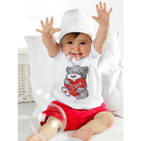 New 2 PCS Baby Kids Tops+Pants Heart Bear Pattern Outfits Set Clothes 0-3 Year XL063 Free shipping & Drop shipping