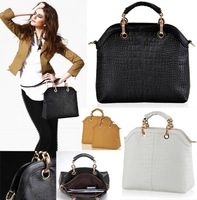 Free Shipping women Crocodile Composite Genuine Cow Leather Messenge Handbag with Beading chain bag