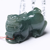 K88-225 courageous emerald A cargo jade Pixiu pendant Oil Green jadeite Pixiu Pendant male models jade pendant on jade article