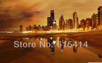"""11 Chicago late evening view cityscape 38""""x24"""" Inch Wallpapr Sticker Poster"""