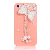 Women diy alloy accessories czech rhinestone pearl silver bow tassel phone case beauty materials