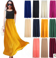 Free Shipping! 2013 High Quality Women Bohemia Pleated Skirt Sexy Chiffon Long Skirts Clothing ,9colors available