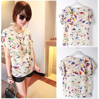 Women Chiffon Loose Blouse Multicolor Birds Print Casual Tops T-shirt S/M/L A2342 Free Shipping