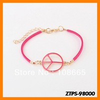 Free  Shipping 12pcs/lot  2013 New Arrive Europe Vintage Peace Logo Bracelet Wholesale ZTPS-98000