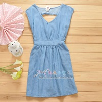 Price 3 cabbage 2013 fashion ol elegant summer slim waist water wash denim skirt one-piece dress