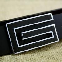 Fashion Genuine Leather Premium G Shape Metal Mens strap man Ceinture Buckle Belt men's belt free shopping