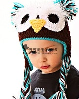 Knitted hat knitted handmade cap child ear protector cap owl hat animal cap fashion photography props