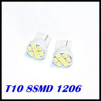 200pcs/lot White light T10 194 168 192 W5W 1206/3020 smd 8 smd bright Auto led car led lighting/t10 wedge led auto lamp