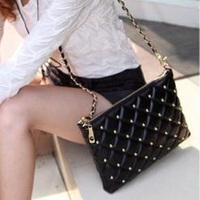 2014 2013 spring and summer women's messenger bag rivet bags women long chain message bag on sale