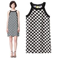 Women's 2013za fashion chessboard black and white plaid print spaghetti strap chiffon one-piece dress short skirt